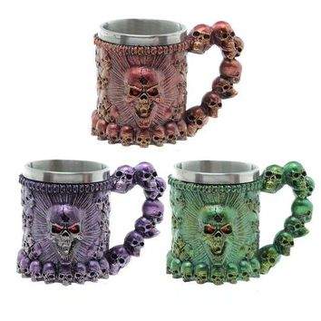 Double Wall Stainless Steel 3D Skull Mugs 350ml
