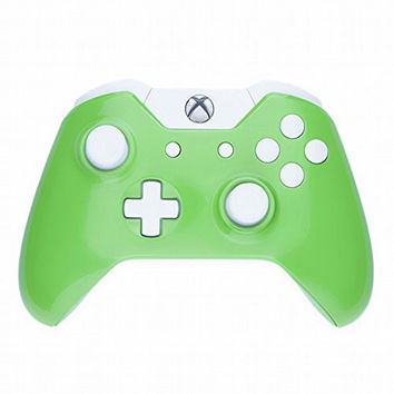 Mod Freakz Xbox One Custom Series Housing and Buttons Replacement Kit Gloss Green with White Buttons (Not a controller! - No 3.5mm Port)