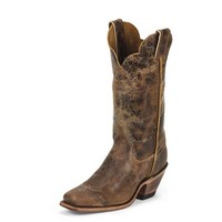 Justin Women's BRL122 Cracked Dark Brown Bent Rail Cowboy Boots