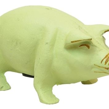 Cast Iron White Pig Bank Figurine