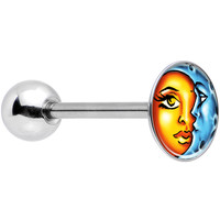 Stainless Steel Celestial Sun and Moon Logo Inlay Barbell Tongue Ring
