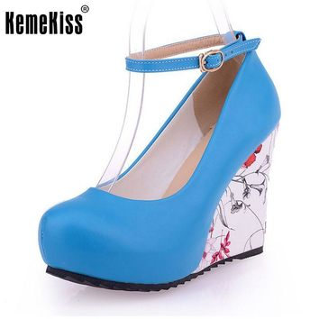 Fashion Ankle Strap High Wedges Platform Summer Pumps Women Casual Flower Print Wedge Platform Shoes mary jane Size 33-43