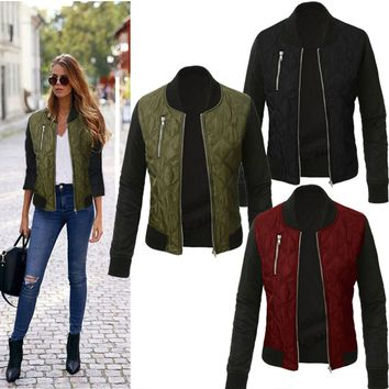 Women's Vintage Classic Padded Quilted Bomber Jacket Biker Coat Baseball Outwear