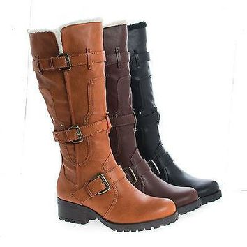 Capture07 By Bamboo, Knee High Faux Shearling Lug Sole Moto Boots