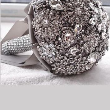 Kyunovia Luxurious wedding accessories Brooch bouquet Ivory Gra Crystal Bouquet Silk Wedding flowers Bridal Bouquets