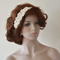 Rustic Wedding Headband, Bridal Headband, Wedding Hair Accessory, Bridal Hair Accessory, Lace and Pearl