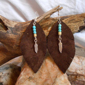 Beautiful, OOAK, Leather and Gemstone Earrings, Handmade, Turquoise and Bone with Silver Feather, Dark Chocolate, Native American Inspired