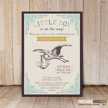 Baby shower invitation / Printable vintage stork baby shower invitation / Boys baby shower invitations / Customized digital file