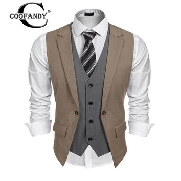 COOFANDY Men Jacket 2017 Autumn Lapel Sleeveless Vest Patchwork Fake 2 Piece Slim Fit Business Suit Vest Male Jacket
