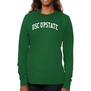 USC Upstate Spartans Ladies Basic Arch Long Sleeve Slim Fit T-Shirt - Green