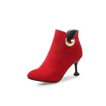 Pointed Toe Moon Pearl Ankle Boots Kitten Heels Shoes 7476