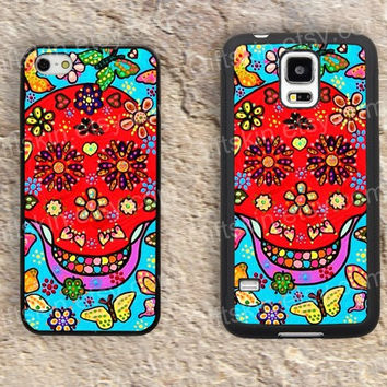 Skull case flowers skull  iphone 4 4s iphone  5 5s iphone 5c case samsung galaxy s3 s4 case s5 galaxy note2 note3 case cover skin 150