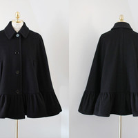 Distinguished Cape Style Oversized Black Wool Blend Babydoll Coat