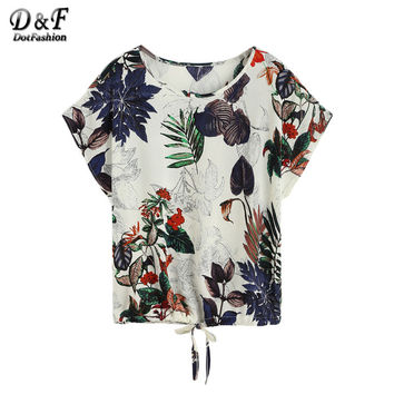 Dotfashion Printed Women T-Shirt Casual Girls Loose Korean Summer T-Shirt Tropical Print Drawstring Hem T-shirt
