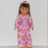 18 inch Doll Clothes Pink Flannel Pajamas with Elephants & Lions fits American Girl Dolls