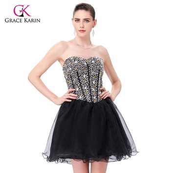 Prom Dresses 2017 Grace Karin Black Ball Gown Sweetheart Crystals Beaded Short Party Gowns Masquerade Dresses for Graduation
