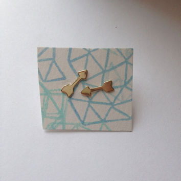Tiny brass arrow stud earrings by littlepancakes on Etsy