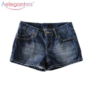 Special Offer Aelegantmis Women Classic Blue Denim Shorts Causal Washed Bleached Jeans Shorts Ladies Summer Mini Hot Shorts