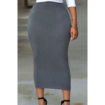 Solid Grey High-waisted Bodycon Maxi Skirt