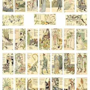 vintage forest flower garden fairy fairies 1800s art illustrations  clip art  digital download collage sheet 1 x 2 inch domino