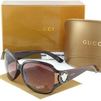 Gucci Stylish Women Men Casual Sun Shades Eyeglasses Glasses Dark Coffee Frame I