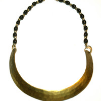 Hammered Brass Necklace with Black Beaded Chain Metal Choker