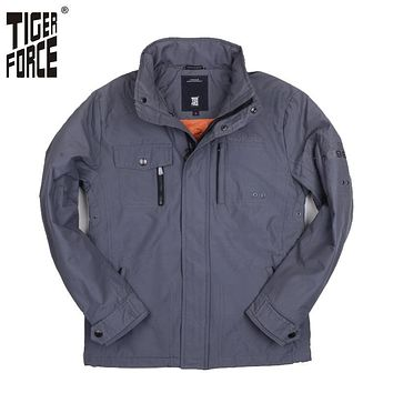 TIGER FORCE New Design Men Jacket Fashion Thin Polyester Padded Jacket Casual Cotton Coat Free Shipping Solid Zipper 51058
