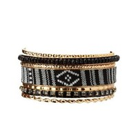 Black Mixed Media Bangles - 7 Pack by Charlotte Russe