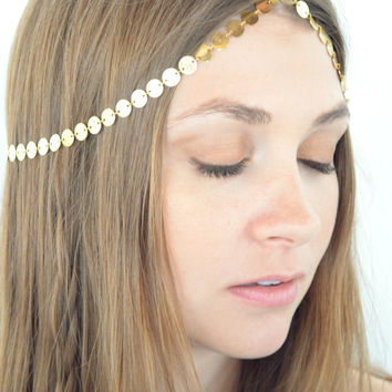 Boho Head Chain Headpiece Headband Hair Piece Bohemian Hipster Boho Hippie Gold Coin Chain Belly Dancing Bridal  Jewelry FionaHP