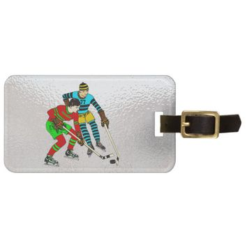 Retro Vintage Ice Hockey Players Old Comics Style Luggage Tag