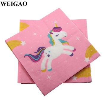WEIGAO 20Pcs Cartoon Unicorn Horse Paper Napkins Birthday Party Disposable Tableware Baby Shower One First Birthday Table Decor