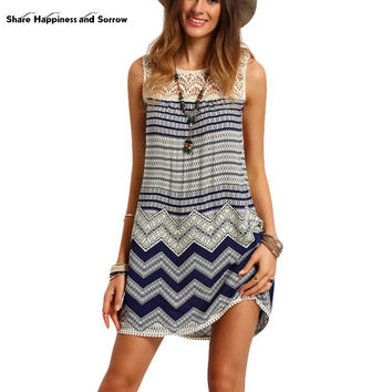 Sexy Print Lace Boho Mini Beach Dresses Korean Women Wave Striped Multicolor Sleeveless O-neck