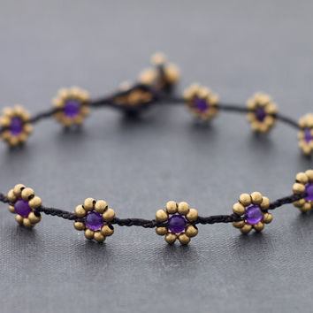 Amethyst Daisy Brass Braided Anklet