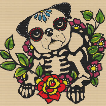 Modern Cross Stitch Kit 'Skeleton Pug' By Illustrated Ink - Day of the Dead Needle Craft Pattern with DMC Materials