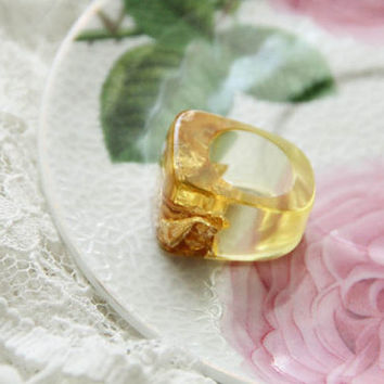 Lemon Resin Ring, Yellow Resin Ring, Epoxy Ring, Modern Material Ring, Summer Ring With Golden Flakes, Unique Resin Ring