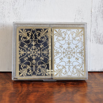 Vintage Stancraft Playing Cards, Black, White and Gold Scroll Design, Plastic Glitter Box, Double Deck