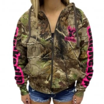 Zipper Hoodie - Realtree APG Camo with Pink Logo w/ Pink Logos: Hunting Apparel | Hunting Clothes | Shirts | Stickers | Decals