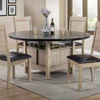 5 pc Ramona collection rustic oak finish wood and silver faux leather chairs round dining table set