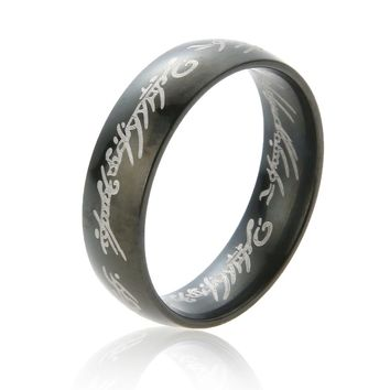 The Lord The Rings Hobbit Letter Rings Black Stainless Steel  Titanium 6MM Men Rings Lover's Wedding One Bague Gifts