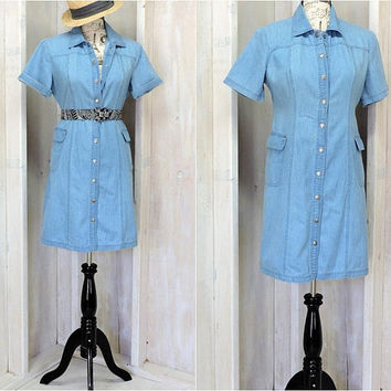 Denim dress / Chambray / Casual / Short sleeve / Summer / Snap front / Cotton / 90s Liz Claiborne / size M