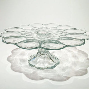 "Vintage Clear Glass Cake Stand, Round Pedestal Cake Stand, 11"" Scalloped Cake Stand"