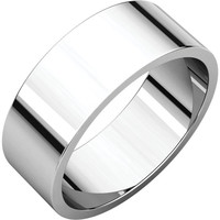 10k White Gold 7mm Flat Wedding Band Ring - Bridal Jewelry: RingSize: 00