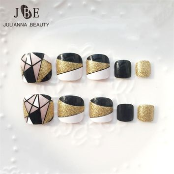 24pcs/set Foot Nail Fake Nail Tips Toe Square Geometry Printing Full Cover Acrylic Gold Glitter False Natural Tips With Glue