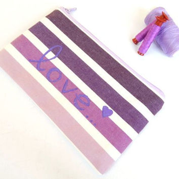 Zipped Pouch in Lilac Purple Ombre with Handpainted Love Message - Make up Bag - Cosmetics - Pencil Case - Bag organizer pouch - Summer Gift