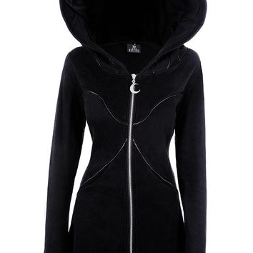 Gothic Black Layered hoodie Long Jacket by Restyle