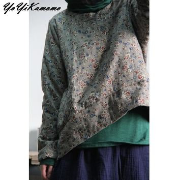 YoYiKamomo Floral Women Parkas Autumn Winter Cotton Linen Vintage Cotton-padded Clothes Women Thick Coat