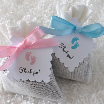 French Lavender Sachet Baby Shower Party Favors with Thank you tags