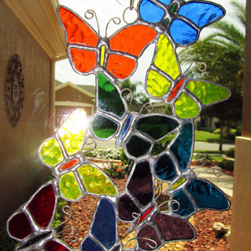 Butterfly Stained Glass Sun Catcher ~ Light Catcher ~ Butterflies Sun Catcher ~ Butterfly Lawn Ornament ~ Yard Ornament