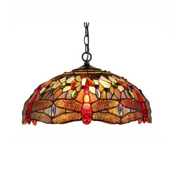 """SKIMMERS Tiffany-style 2 Light Dragonfly Ceiling Pendant Fixture 18"""" Shade"""