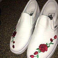 VANS Slip-On with Red Rose All White Sneaker